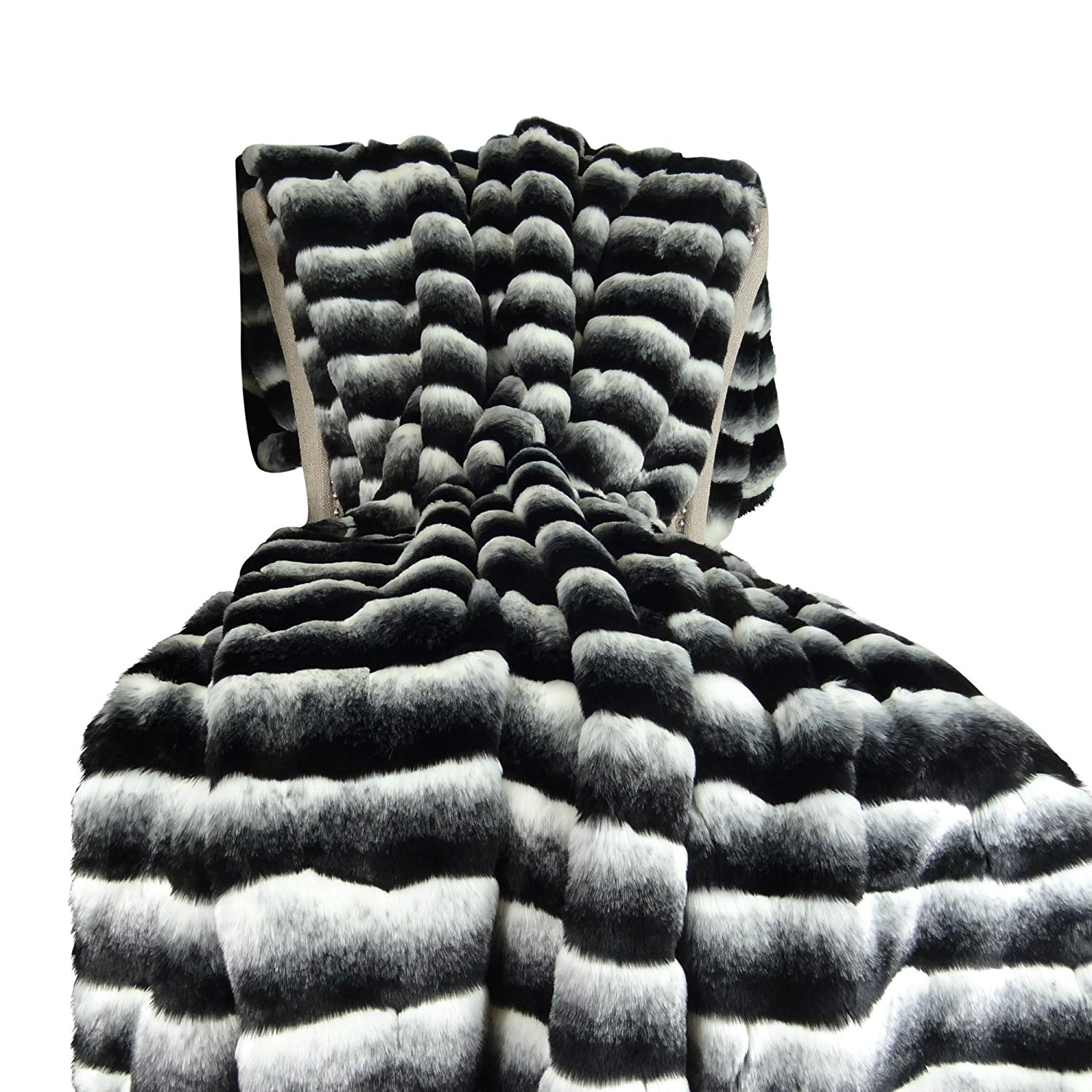 Thomas Collection Black White Chinchilla Faux Fur Throw Blanket & Bedspread - Black Chinchilla Fur - Black White Chinchilla Throw Blanket - Fur Blanket, Made in USA, 16432