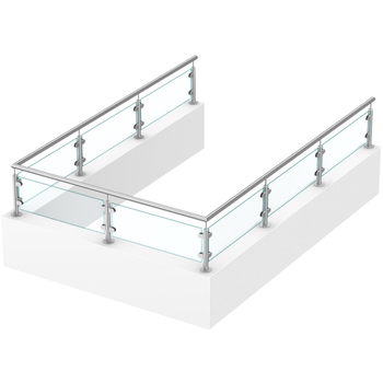 Stainless Steel Baluster Glass Railing For Parapet Wall ...