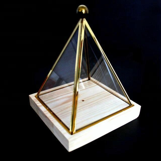 Clear acrylic pyramid shape display cover with wooden base