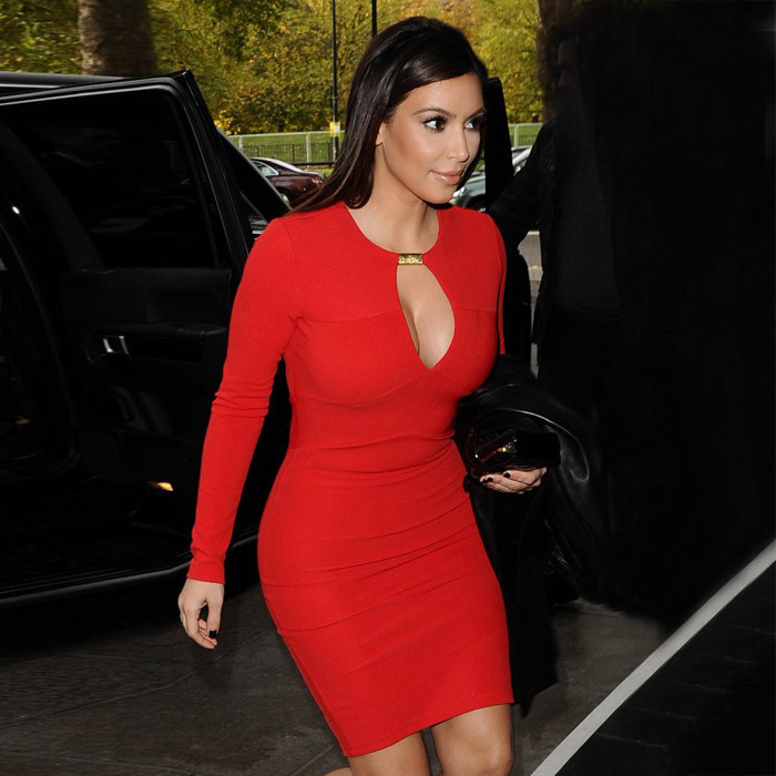 Women Winter Long Sleeve Red Sey Kim Kardashian HL Bandage Dress New Arrival Bodycon Elegant Dress