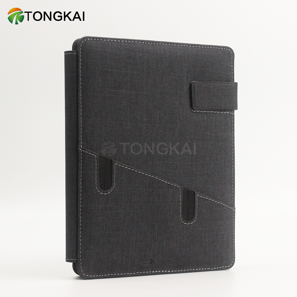 TongKai 2019 New Simple Style Gray Portfolio Folder With Magnetic Buckle