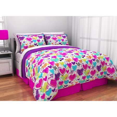 Latitude Teen Reversible Bright Pink, Purple, White Hearts Bedding Twin Comforter for Girls (5 Piece in a Bag)