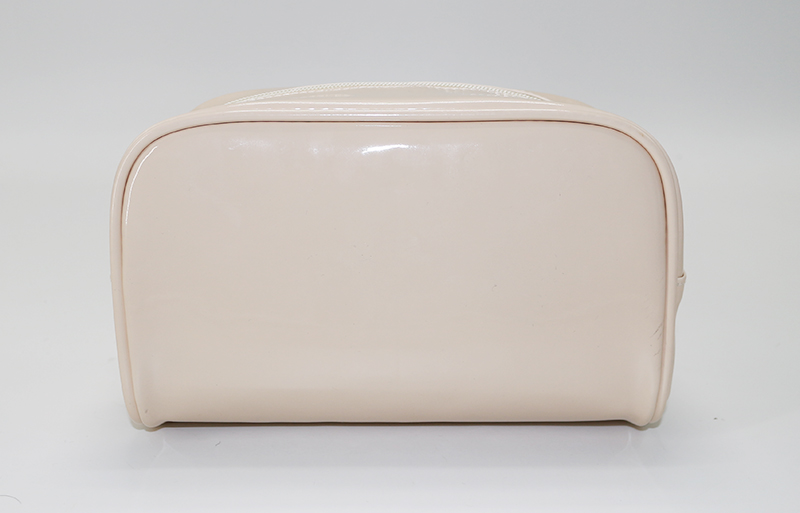 ARTGIMEN Cream White Patent Leather Makeup Cosmetic Bag Handbag Travel Toiletry Bag for Women Accessories Cosmetics Makeups