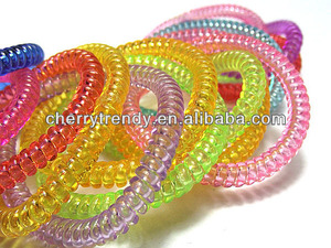 Fashion transparent telephone cord hair band or Elastic Phone Wire Hair Band Rope Bracelet Size