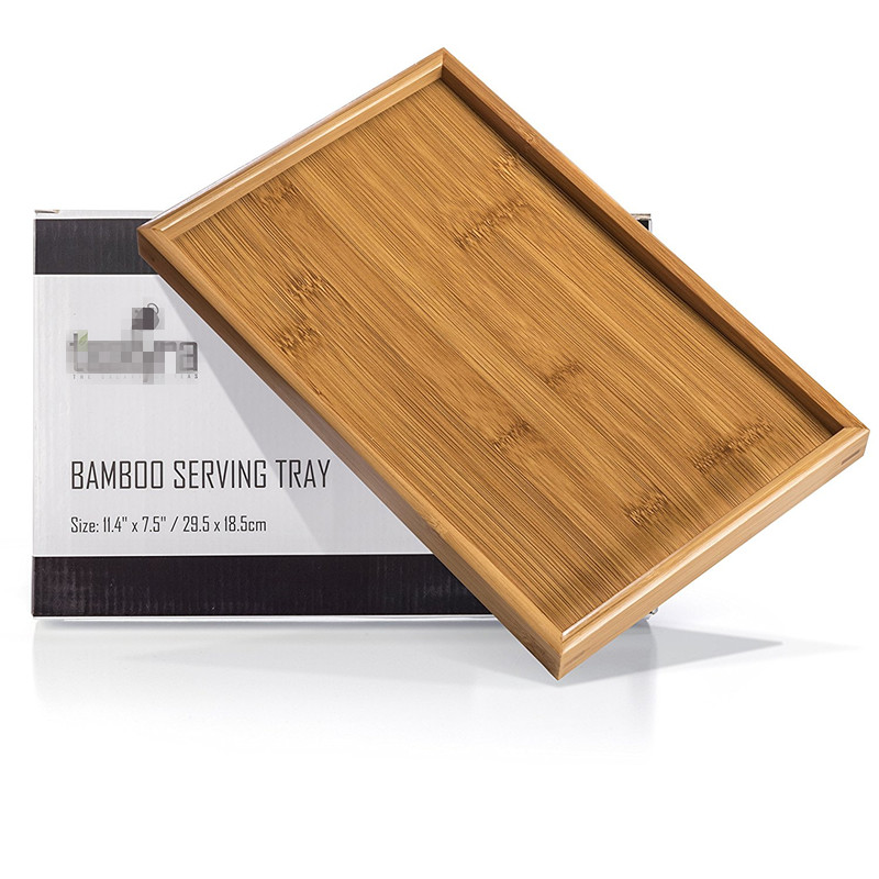 High Quality Rectangle Shape Wood Bamboo Serving Tray