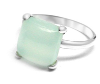 Large Selling 925 Sterling Silver Ring With Aqua Chalcedony Gemstone