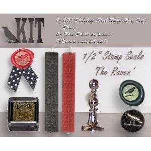 "Wax Seal Stamp KIT - Celtic Raven 1/2"" Mini Stamp KIT"