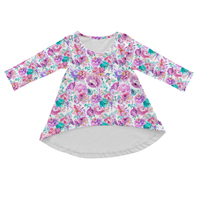 Latest Children Frocks Designs Clothing Long Sleeve Purple Fower Fabric Wholesale Baby Girls Floral Dress