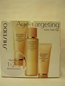 Shiseido - Age Targeting - 3 Pc the Skincare 1-2-3 Benefiance Set Kit: Creamy Cleansing Foam 2.7oz + Enriched Balancing Softener Lotion 3.3oz + Daytime Protective Emulsion Spf 15 + Sunscreen 1oz