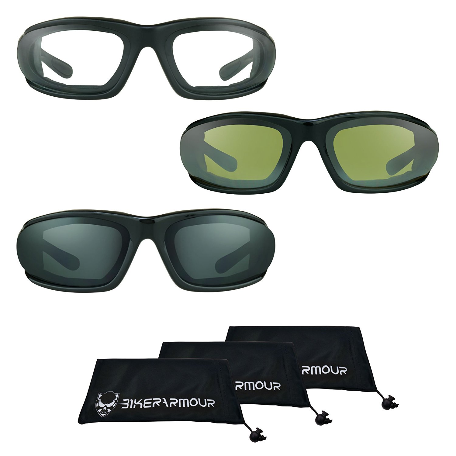 c41d18e53 Get Quotations · Small Motorcycle Sunglasses Foam Padded for Women, Boys  and Girls (Black Clear + Black