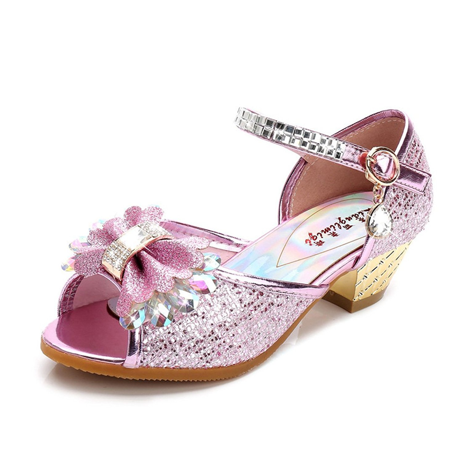 YIBLBOX Girls Kids Toddler Dress up Wedding Cosplay Princess Shoes Sparkling Mary Jane Low Heel Shoes