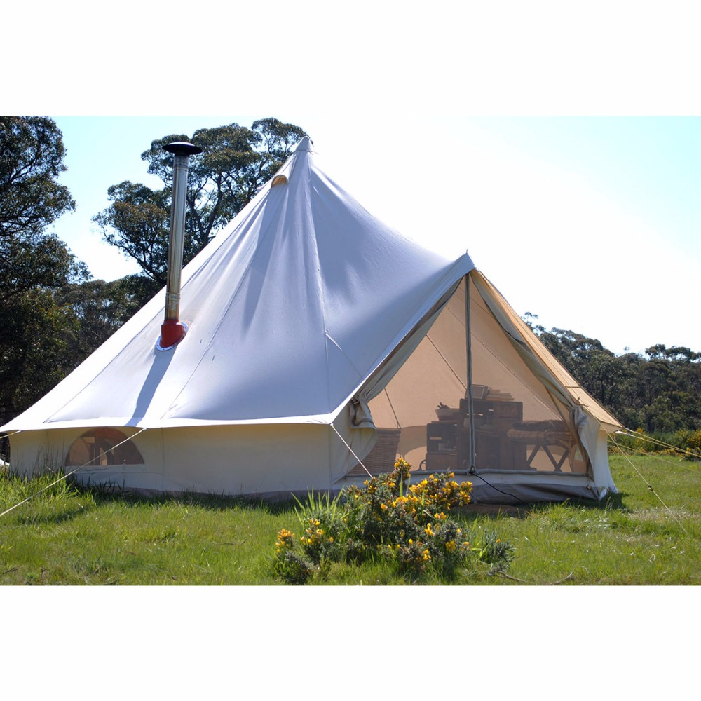 5M outdoor waterproof beige camping cotton canvas bell <strong>tent</strong>