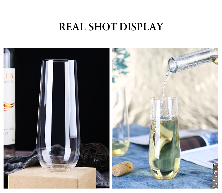 Best Selling Products Crystal Glass Stemless Plastic Champagne Flutes for Home Party Outdoor Picnic Restaurant Hotel Wedding