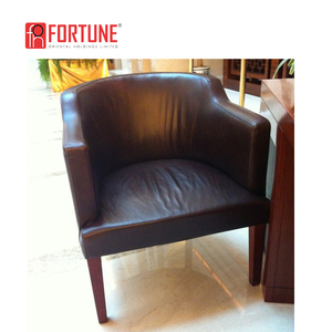 Brown Color Genuine Leather Bucket Chairs Dining Room Furniture Vintage Industrial Dining Chairs