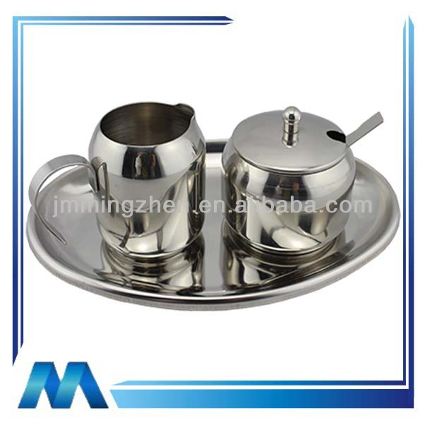 stainless steel sugar and creamer set
