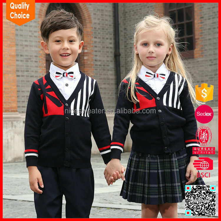 Knitted Primary pullover sweaters kids school uniforms