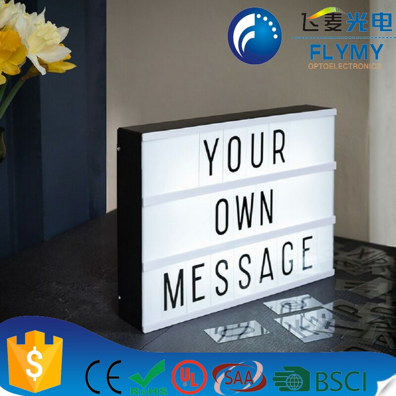 Cinematic Light Box Black Shell Battery Powered Letters Changeable Cinema Light Box