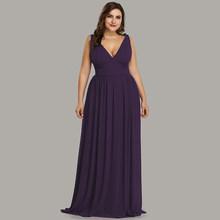 Платья Ever Pretty большого размера для подружек невесты, элегантные длинные шифоновые платья а-силуэта с треугольным вырезом и открытой спиной ...(Китай)