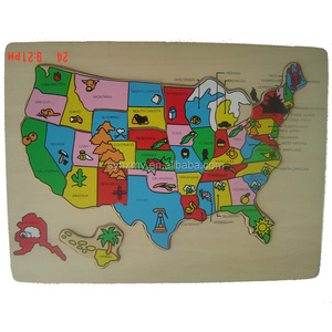 Popular world map wooden puzzle kids plain jigsaw puzzle
