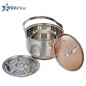 Wholesale camping supplies #201 Stainless steel casserole pot with glass lid