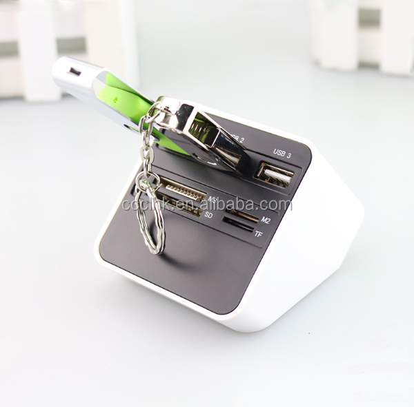7 In 1 USB 2.0 Card Reader 3 USB SD MS M2 TF External Adaptor Combo High Speed with 90cm Cable