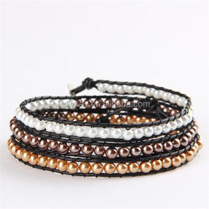 2014 fashion brazil store hot selling products pearl beaded wraps bracelet from china
