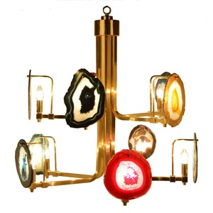 Modern style colourful Agate Brass chandelier