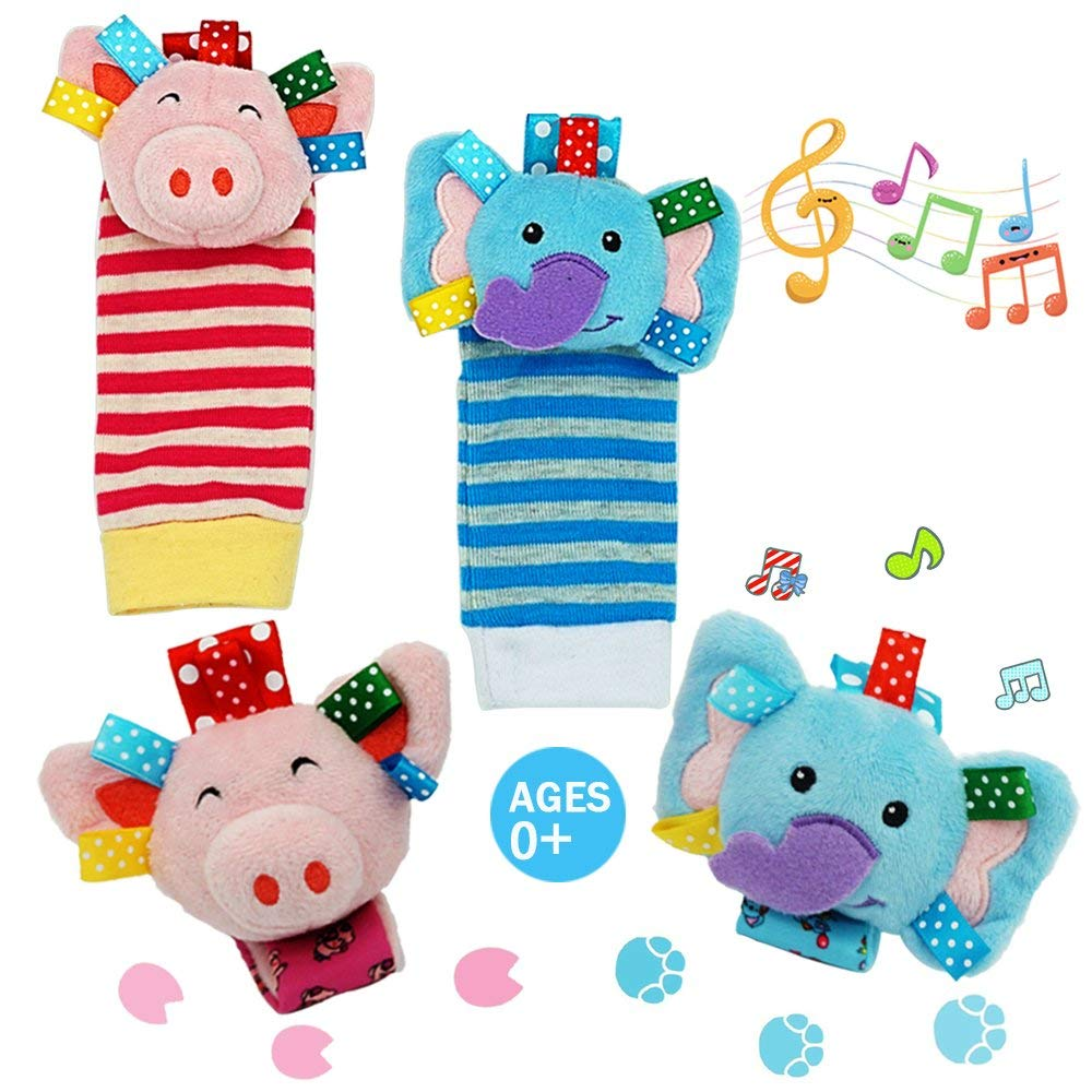 Daisy Baby Rattle Toy, Animal Wrists Rattle & Foot Finder Socks Toy Gift Set, Baby Foot Rattle Organic Cotton Socks for Infant and Toddler - Elephant and Pig (4 Pieces)