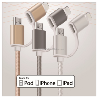 High quality MFI certificate 2in1 braide usb cable fast charge and sync data for iphone 5/6 for samsung