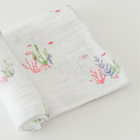 Organic Cotton Baby Muslin Swaddle Bamboo Cotton Receiving Blankets Gift Set