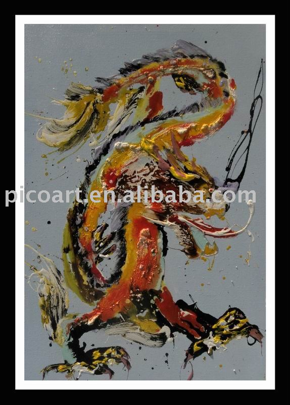 canvas expressionism animal art painting(dragon)