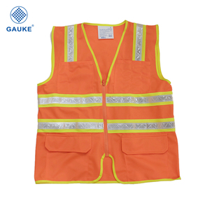 China factory supply polyester reflective safety jacket warning vest security jacket red safety vest