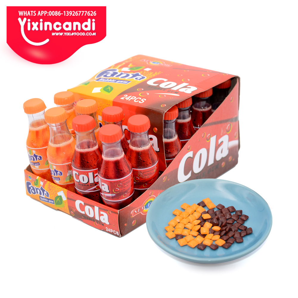 Mini <strong>orange</strong> and cola color Cola and fanta flavor bubble gum in cola bottle