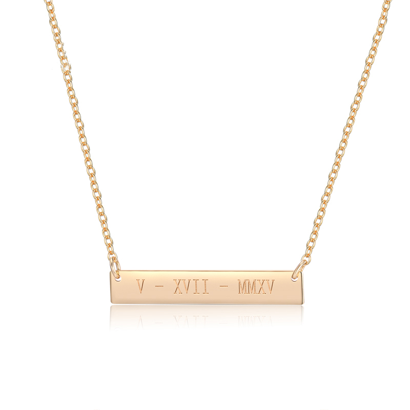 Amazon SJ Custom Name Necklace for Women Eco-Friendly Brass Yellow Gold Plated Personalized Bar Necklace Initial Engraved Gift, Yellow gold/rose gold/silver necklace