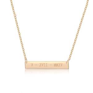 Amazon SJ Custom Name Necklace for Women Eco-Friendly Brass Yellow Gold Plated Personalized Bar Necklace Initial Engraved Gift