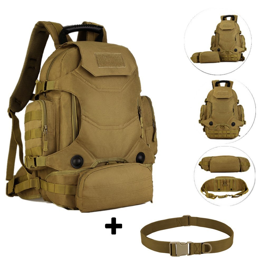 40L Multifunctional 3 Ways Use tactical Backpack with combination/Molle backpack/ tactical rucksack /Army fans camouflage mountaineering bags/Waist Bag