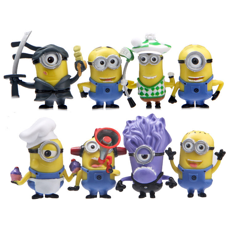 Best Quality 8PCS/SEt kids Toys MINIONS TOYS doll lps anime toy Environmental Protection Harmless Home decoration MagicToy 0042