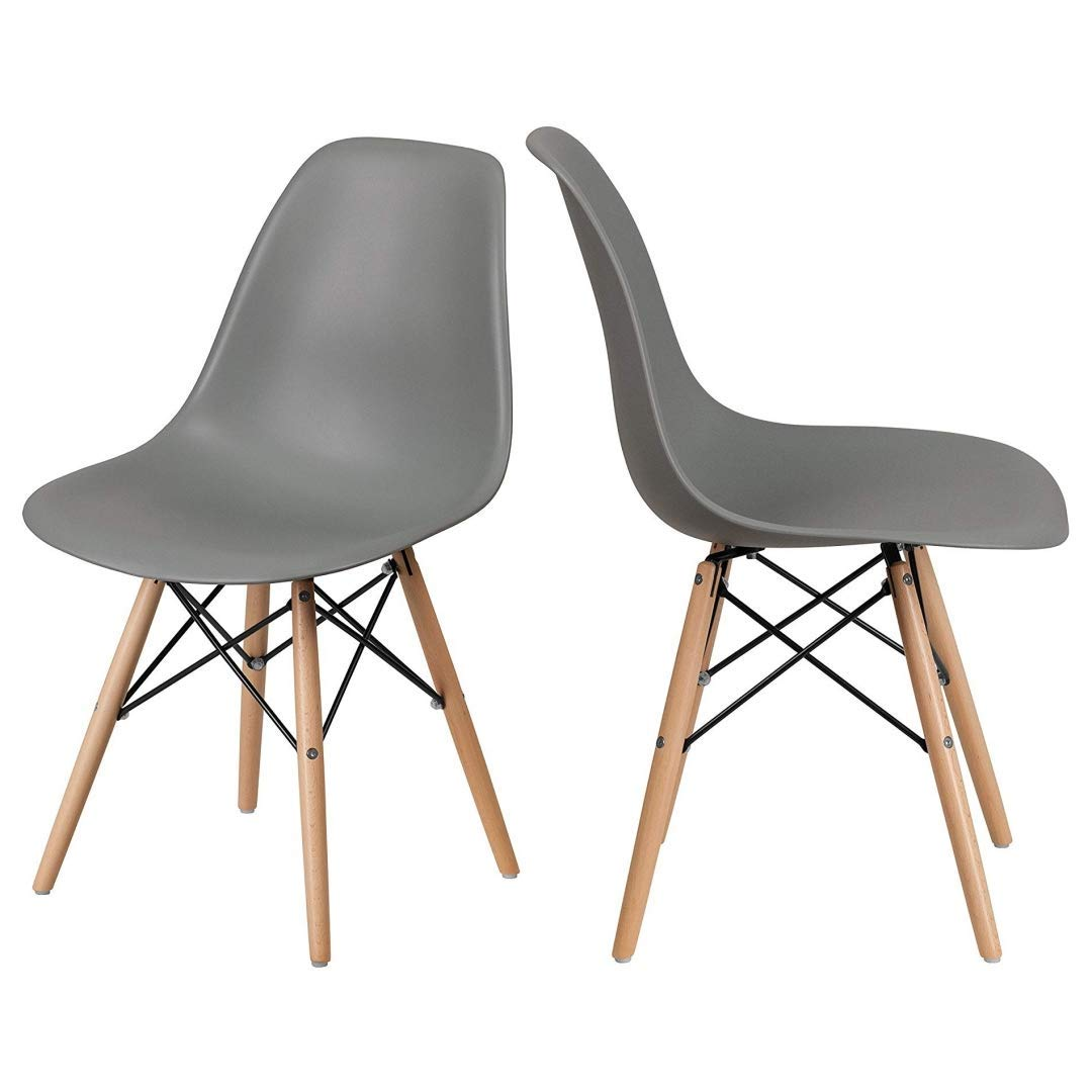 Get quotations · contemporary vintage style durable matte finish molded abs plastic chairs posture support seat solid wood