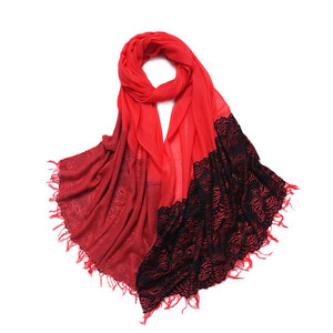 Ladylike 100% cashmere red color scarf with lace decorated thin weight