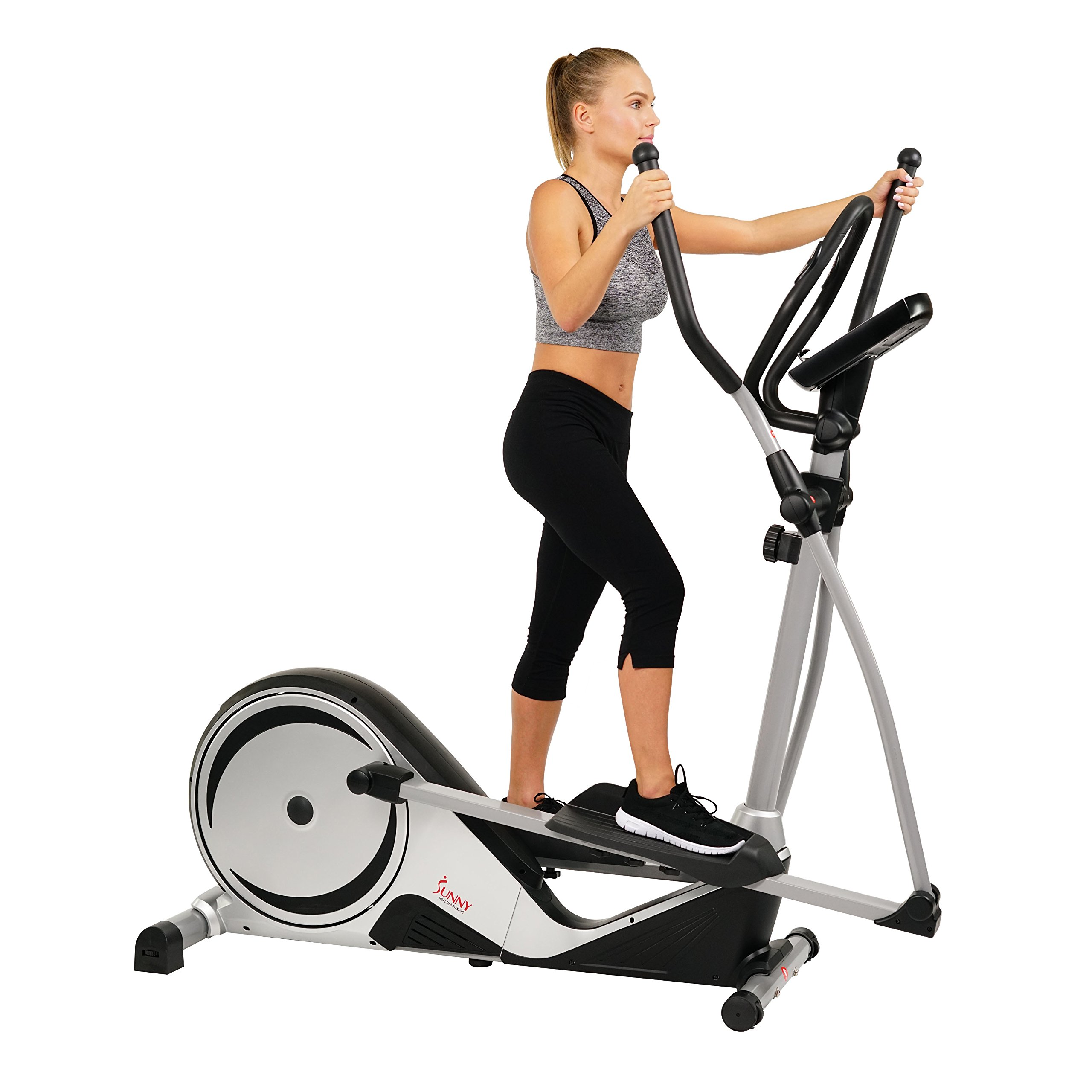 Sunny Health & Fitness Magnetic Elliptical Trainer Machine w/ LCD Monitor, Adjustable Stride, Heart Rate Monitor - SF-E3617