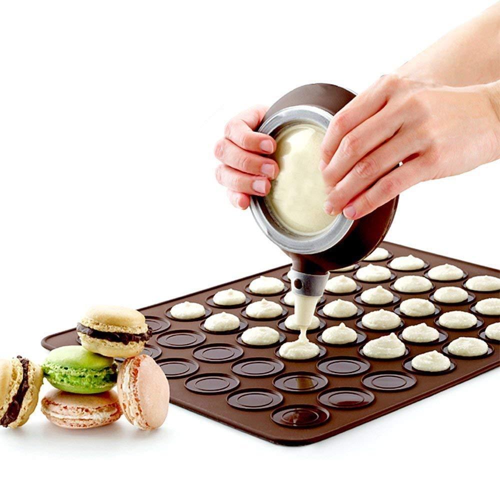 Macaron Making Set- 48 Capacity Macaron Silicone Baking Mat Mould Mode and Decorating Pen Icing Tips with 4 Nozzles (macaron set)
