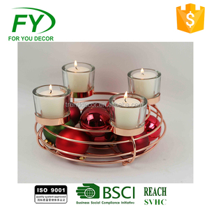 Ch-31823 Widely Used Best Prices Wedding Gift Tealight Copper Clear Glass Candle Holder Candle Sticks
