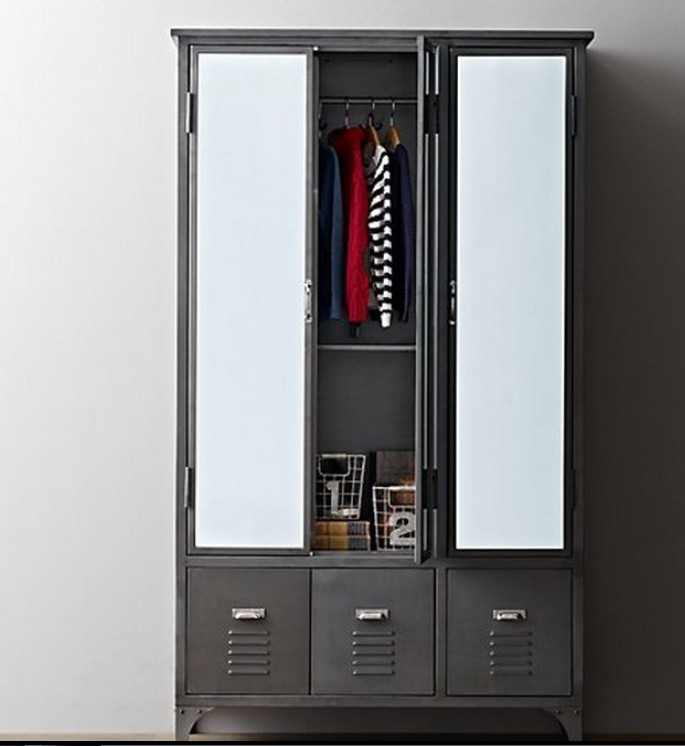 industrial loft american country style wrought iron wardrobe storage cabinets lockers lockers. Black Bedroom Furniture Sets. Home Design Ideas