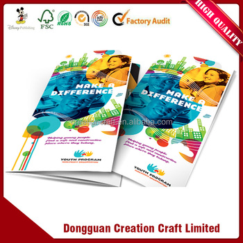 new design promotional brochure pamphlet supplier with non toxic