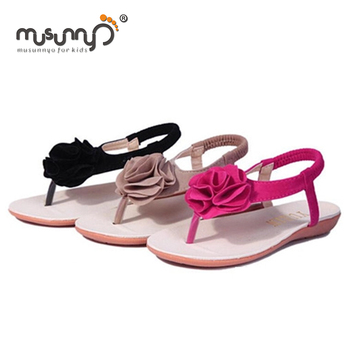 a0d0fff2f new design summer flowers leather lady flip flop sandals nude flat shoes  for girls