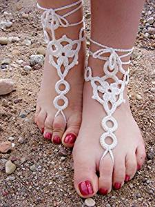 Crochet Barefoot Sandals,Beach Pool,Nude Shoes,Foot Jewelry,Footless Sandles,Beach Wedding Jewelry,Yoga Chain,Anklet, Wedding shoes, Beach Wedding, Summer shoes, One Size Fits All (ivory)