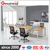 China made Modern office desk 4 person Steel workstation frame wooden top