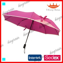 auto open and close china wholesale sun lace 3 fold ladies umbrella with ribbon