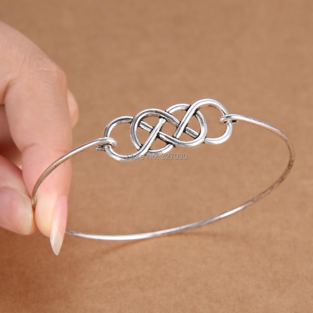 Wire Bracelets With Charms: Double Infinity Minimalist Handmade Wire Charm Bangle