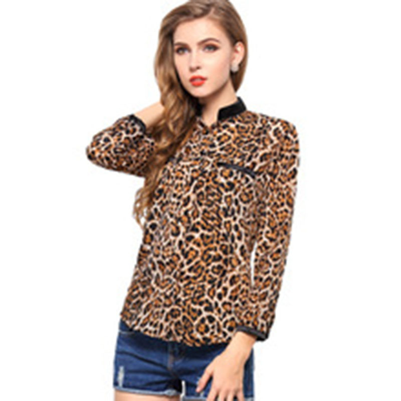 6b64c1cdea7fba Leopard Print Women Blouses 2015 New Female Casual Shirt Stars Long Sleeved  Chiffon Turn-down